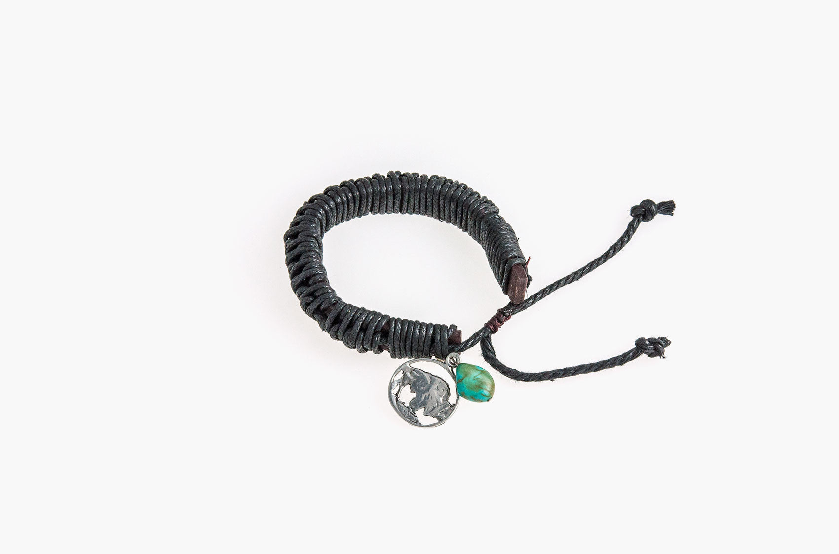 Black leather and cord bracelet with turquoise