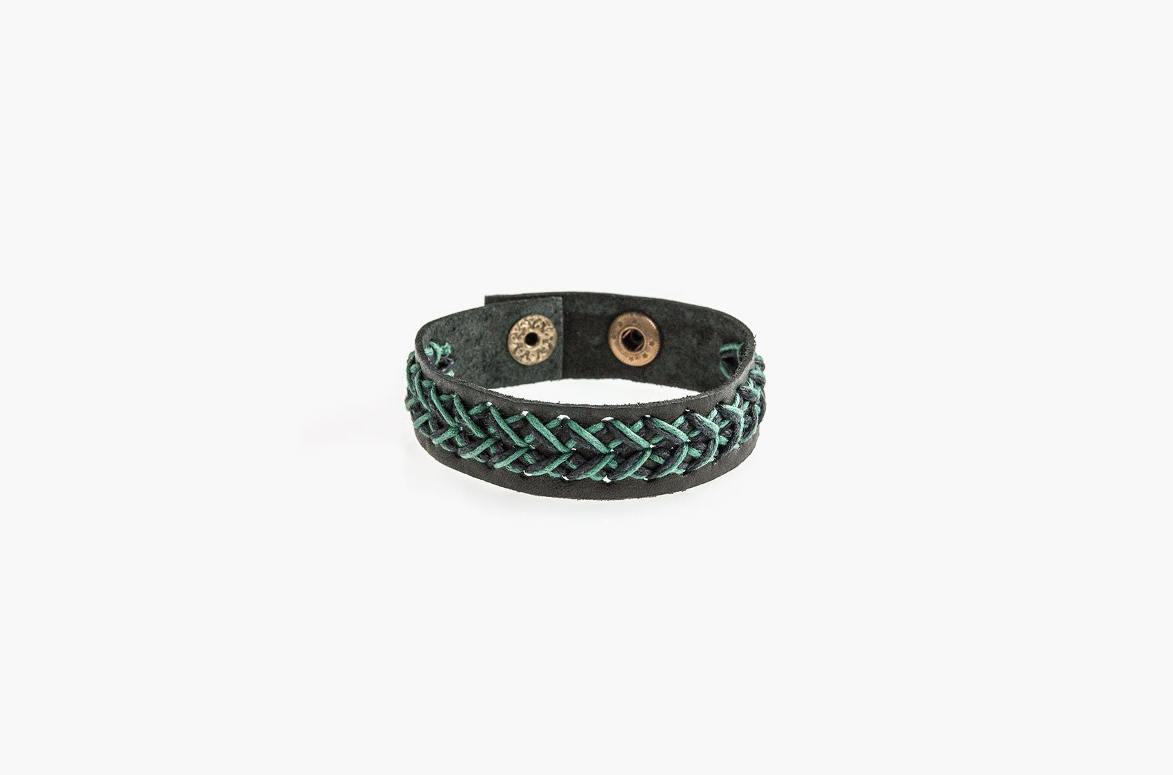 Black leather and green cord stitched bracelet