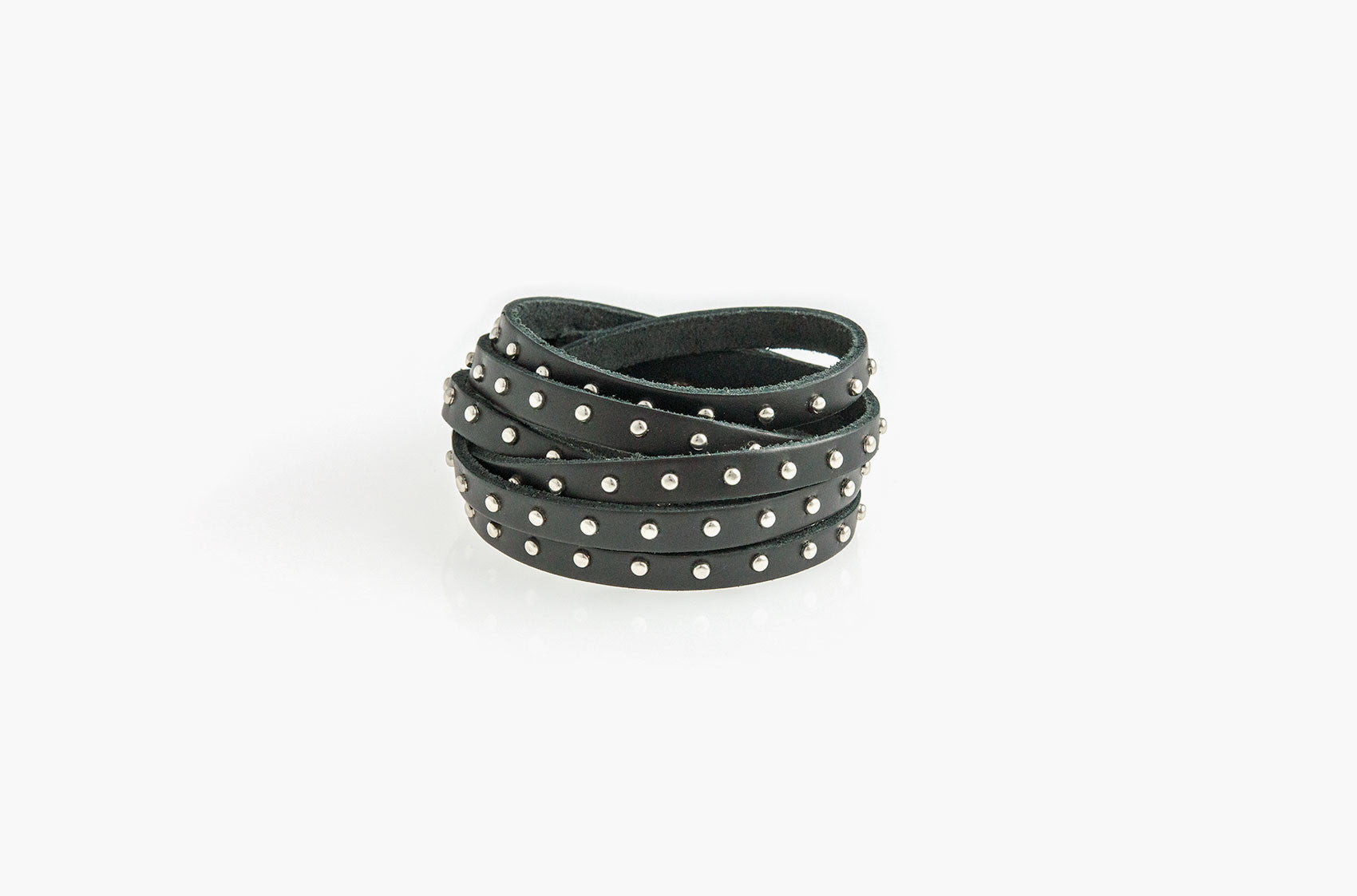 Black leather and studs wrap bracelet