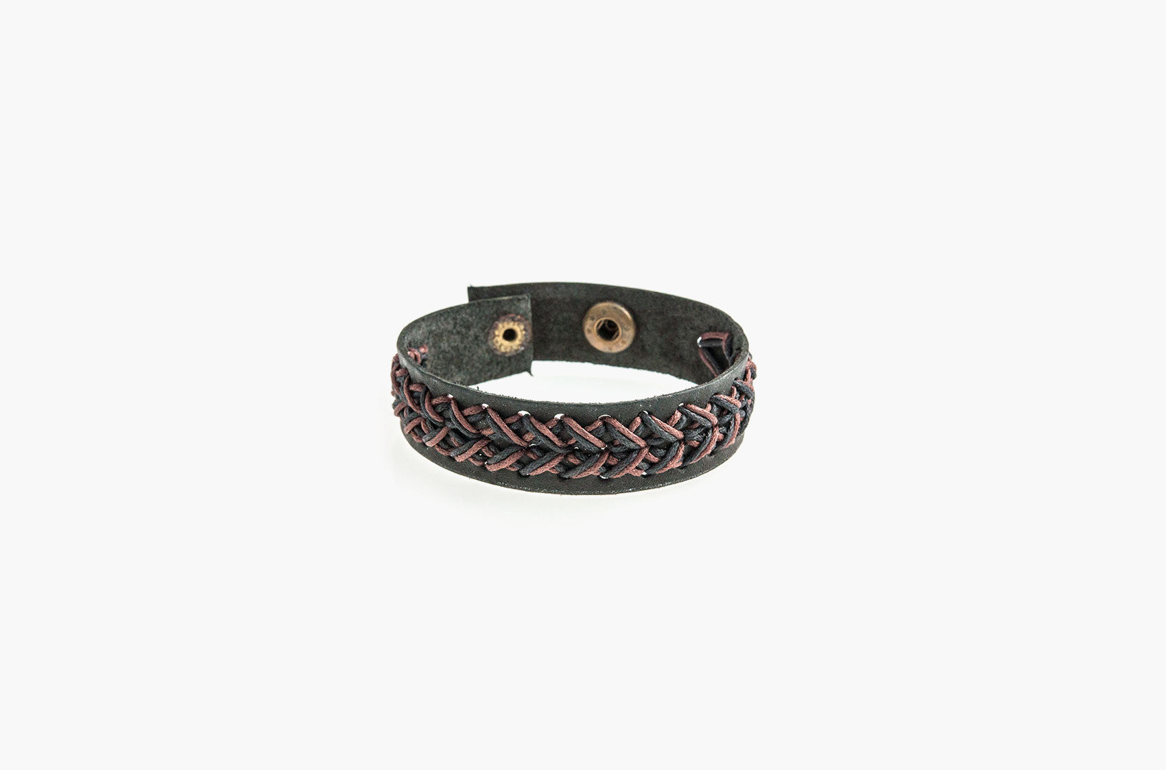 Black leather and brown cord stitched bracelet