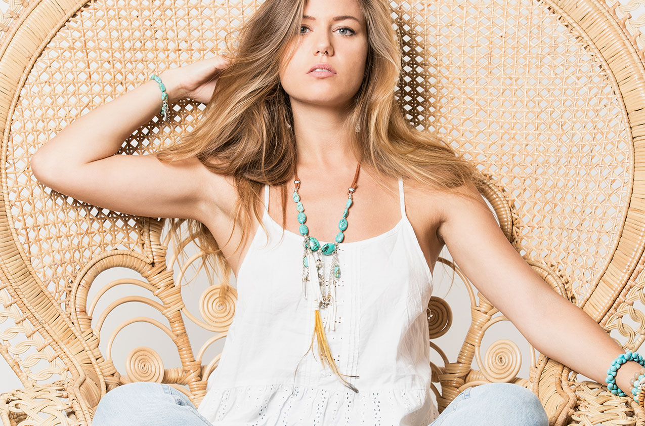 Blonde model wearing Buffalo Girl Spirit Dreamer necklace