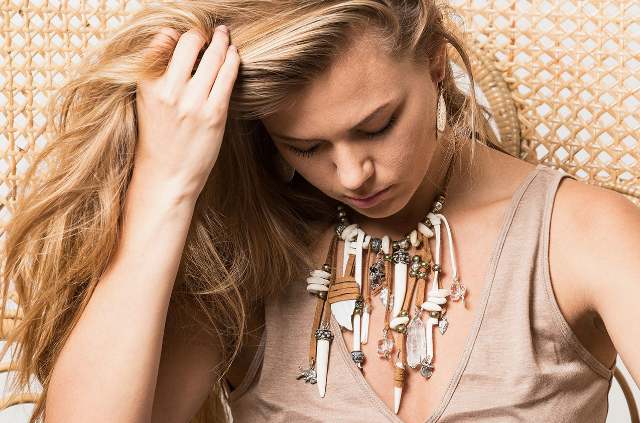 Blonde model wearing Prairie Princess ornate necklace in tan