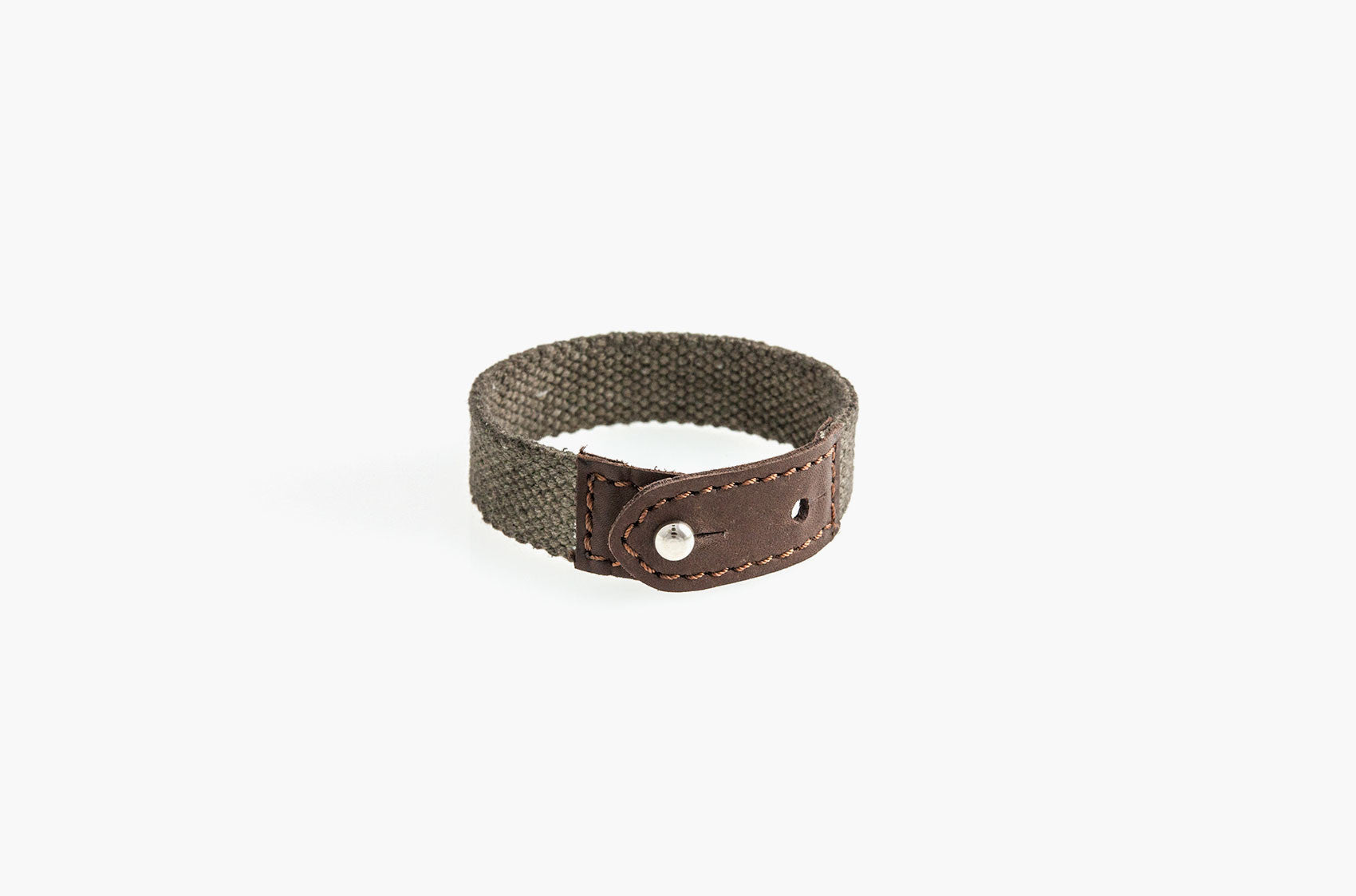 Leather and brown cotton canvas stud bracelet