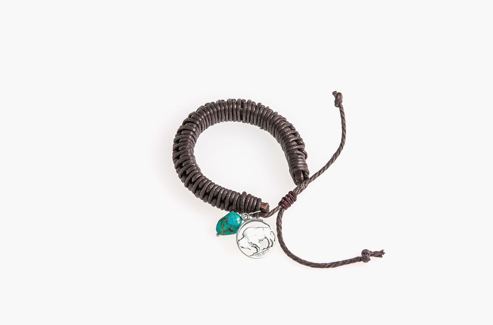 Brown leather and cord bracelet with turquoise