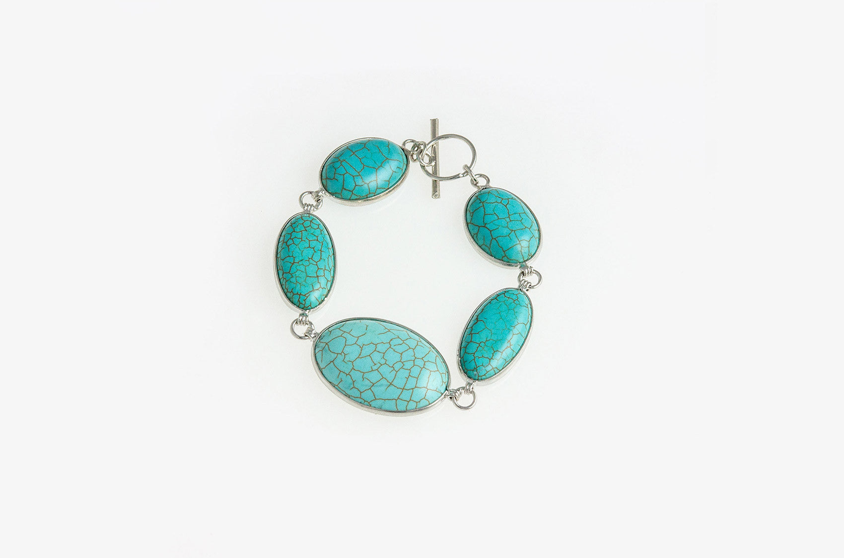 Turquoise stones silver flat Buffalo Girl Collective bracelet