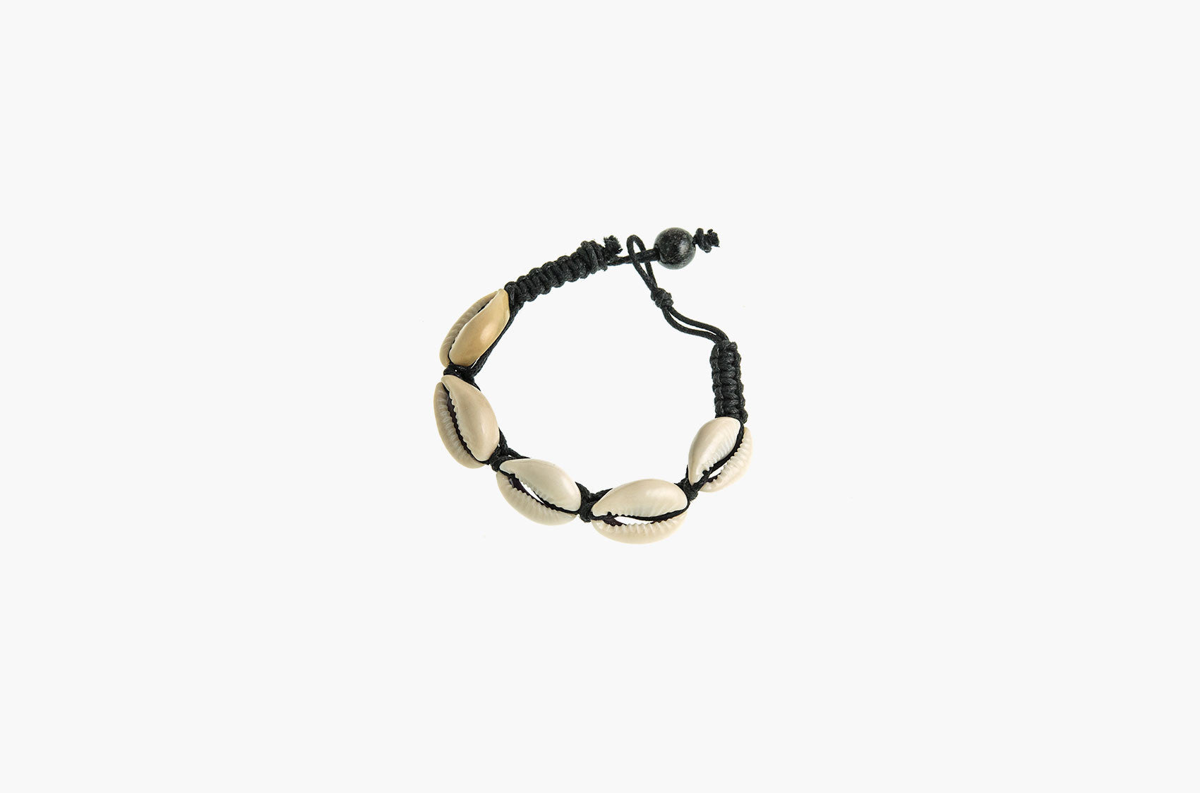 Conch shell and black woven cotton bracelets