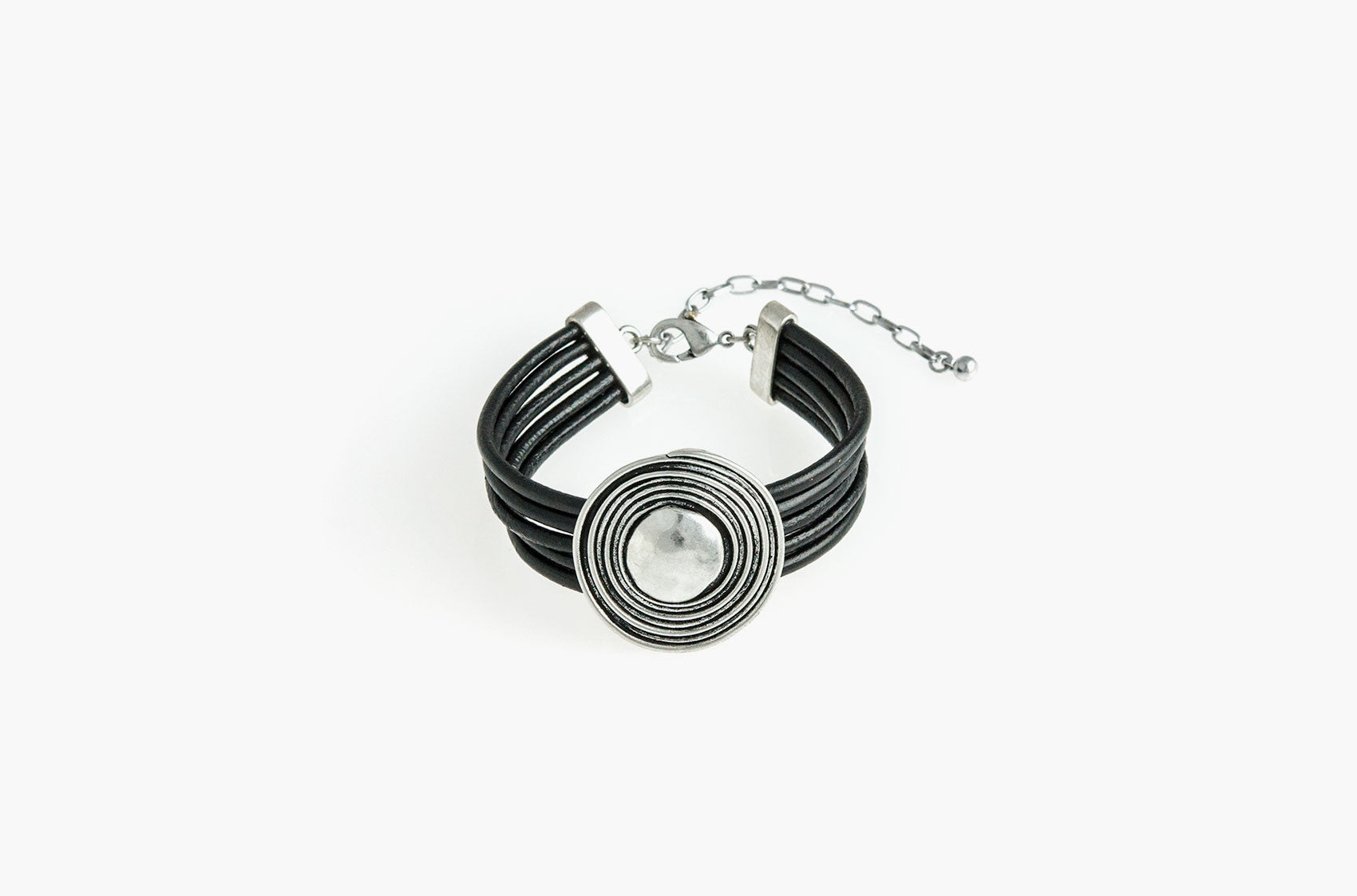 Five strand black leather and pewter spiral bracelet
