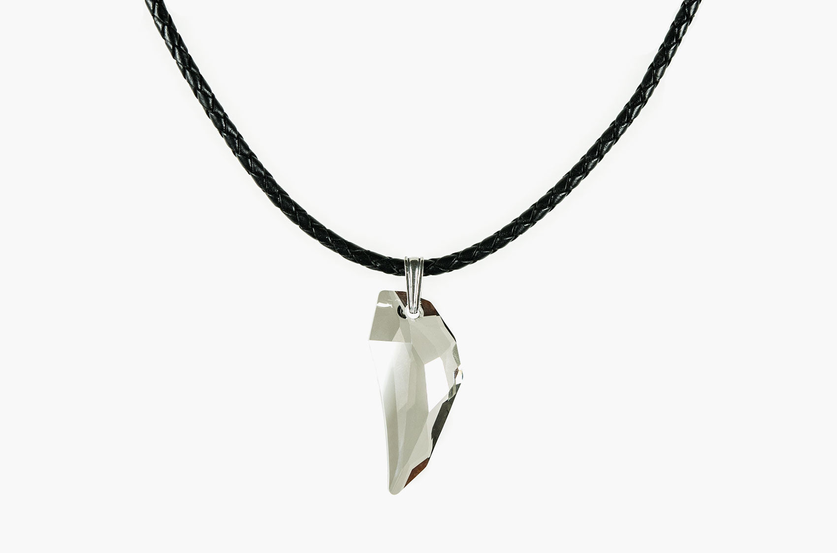 Large Swarovski Wolf Tooth leather necklace satin smoke