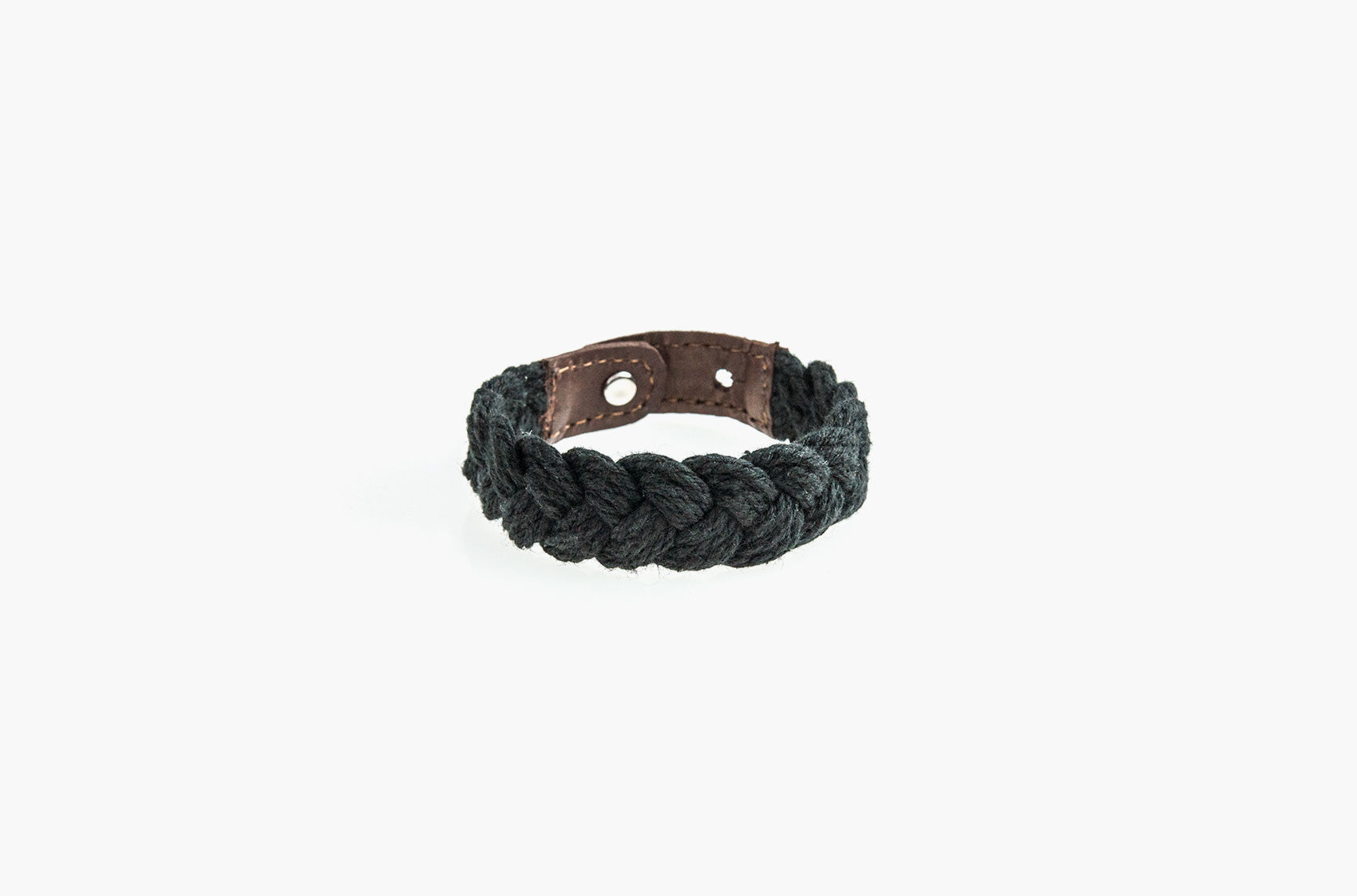 Leather and black woven cotton stud bracelet