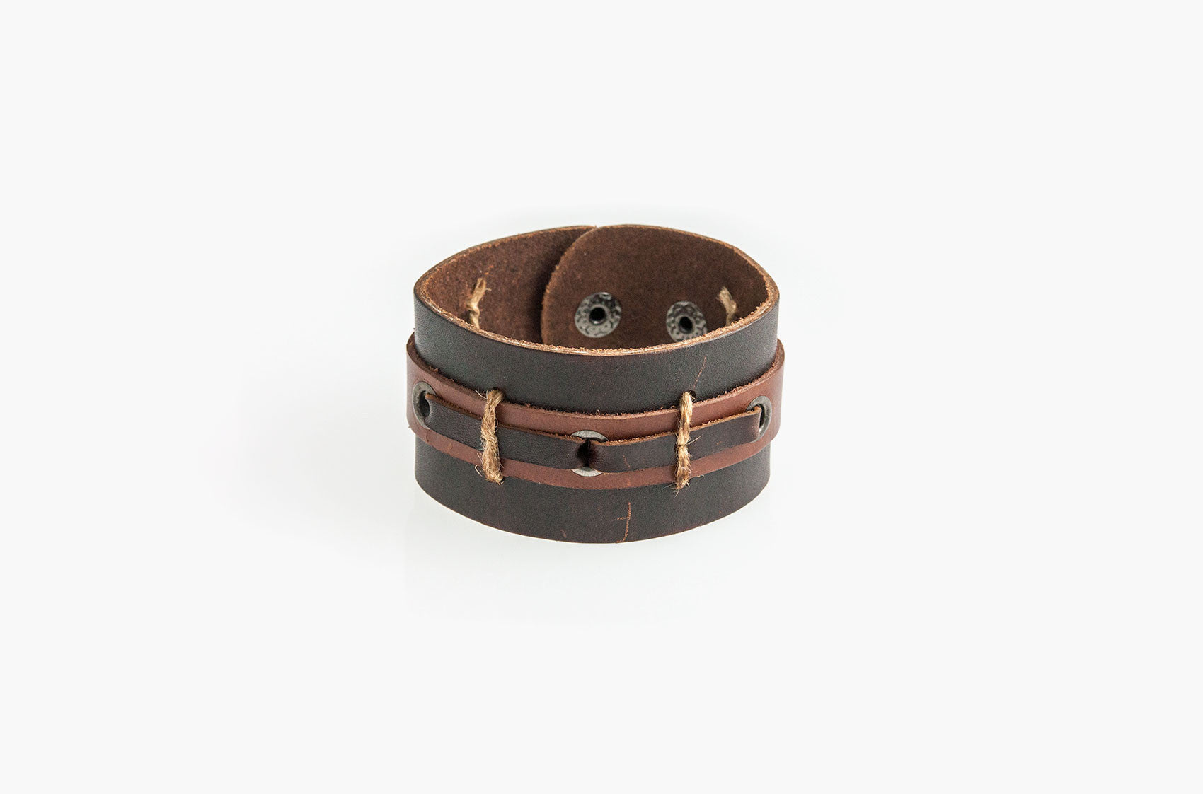 Leather and rope wide wristband bracelet