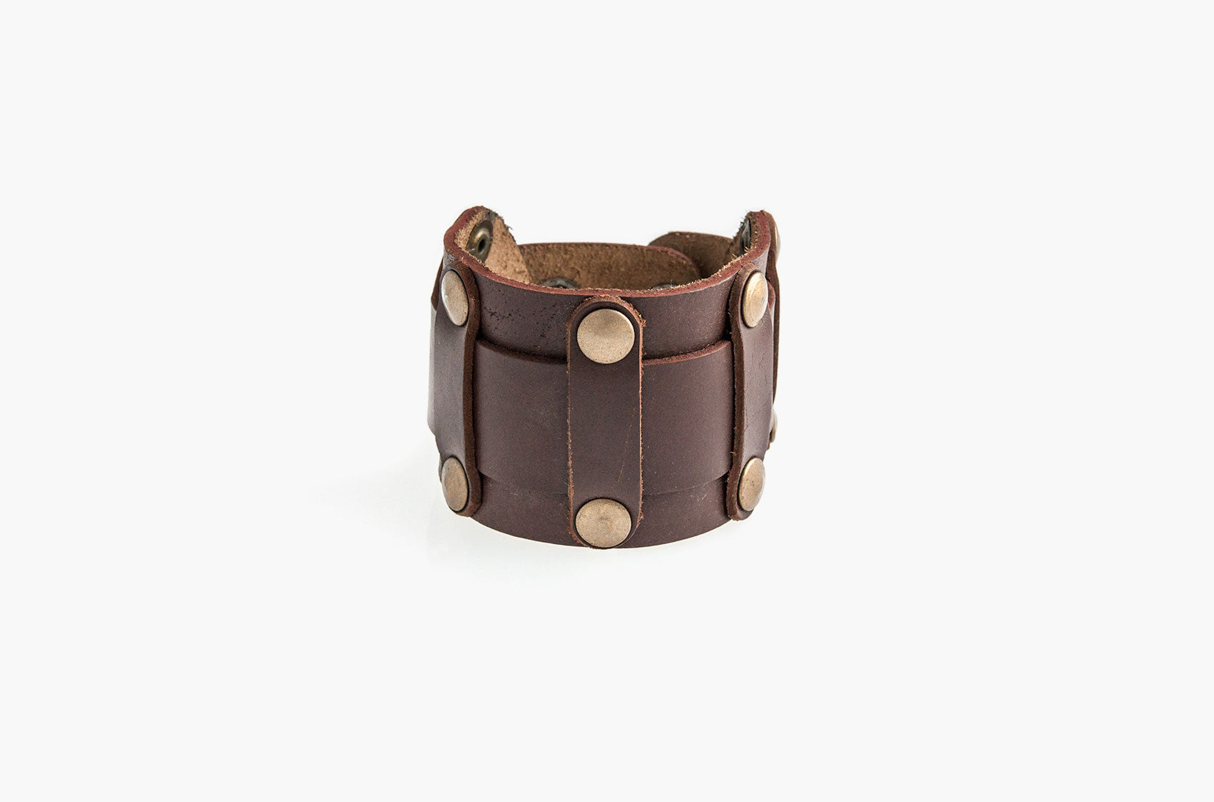 Leather and studs wide wristband bracelet