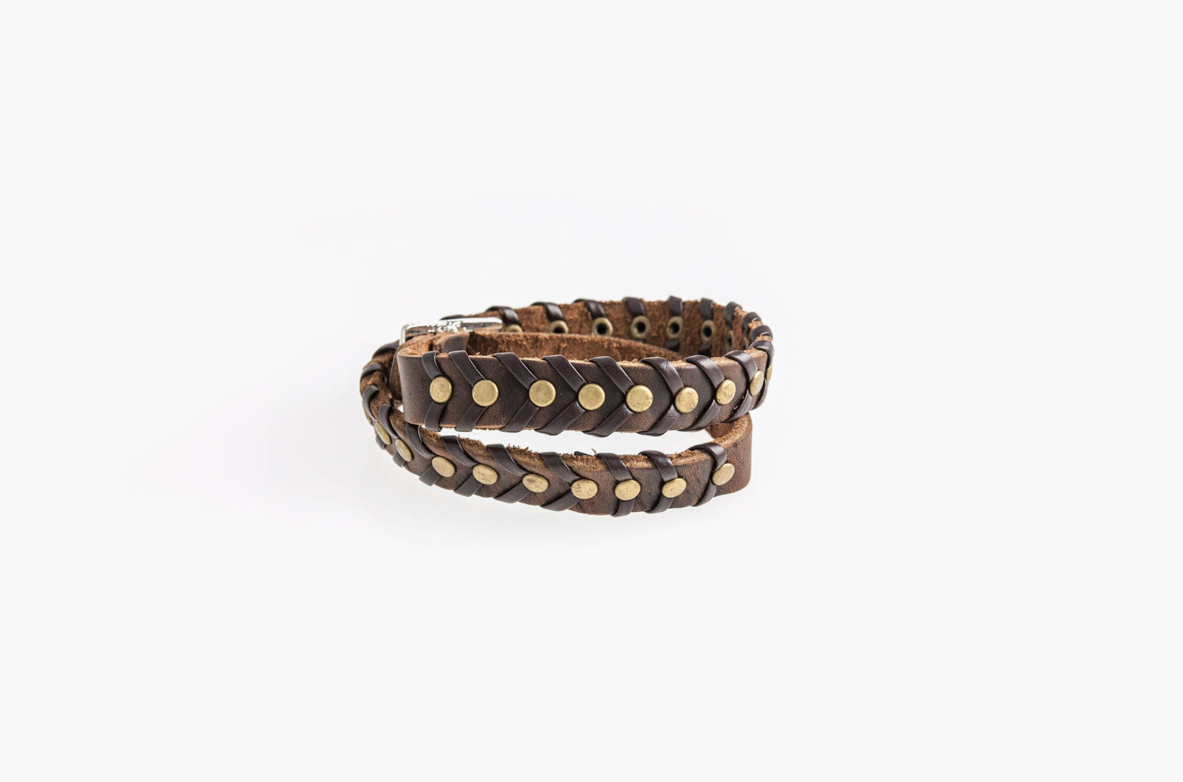 Leather and studs wrap bracelet