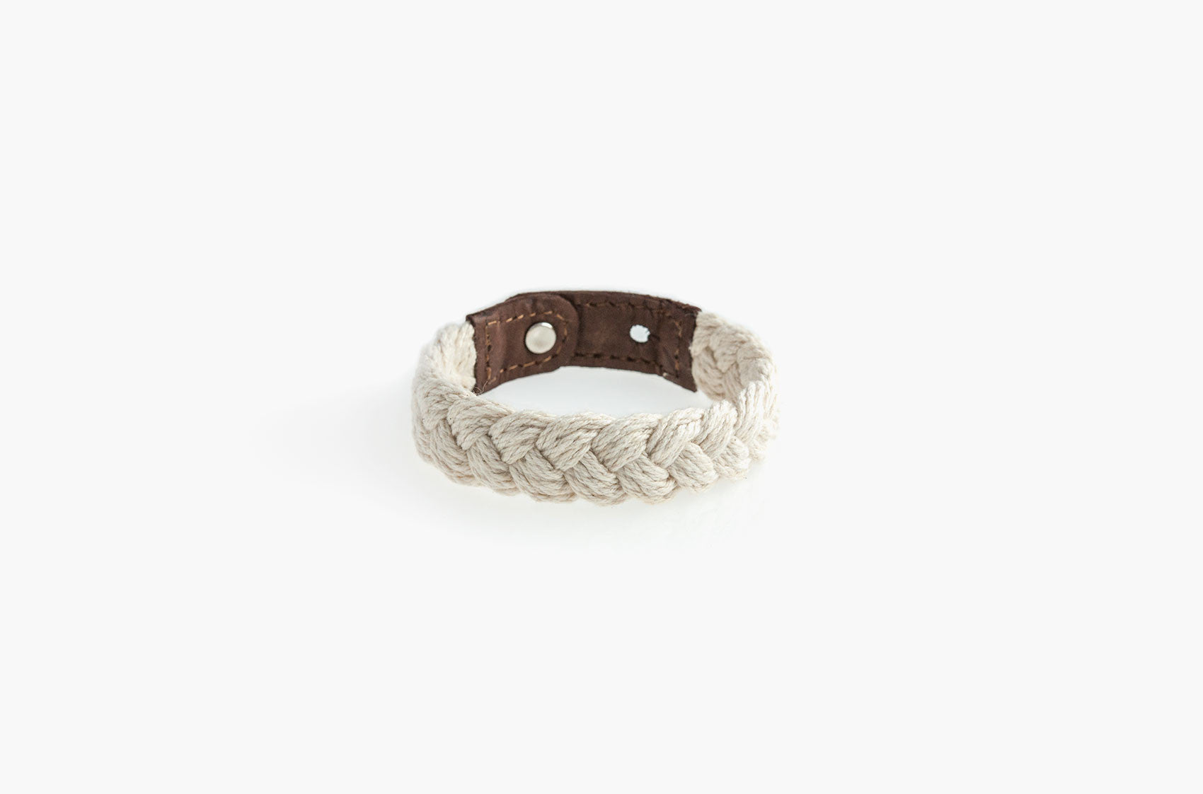 Leather and white woven cotton stud bracelet
