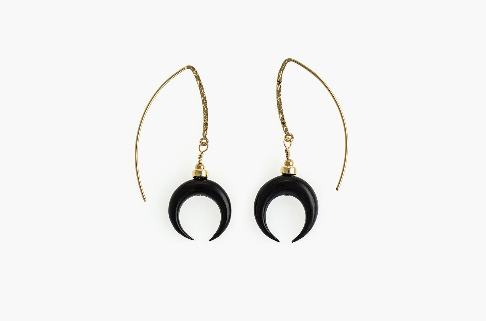 Little Big Horn. Crescent medium drop earrrings Black with 14kt gold hammered earwires