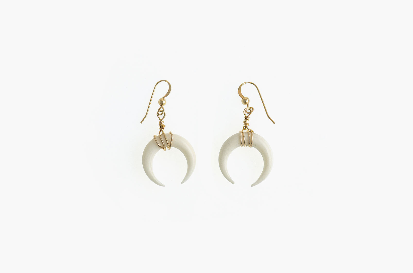 Little Big Horn. Crescent medium wire-wrap earrings Ivory with 14kt gold smooth earwires