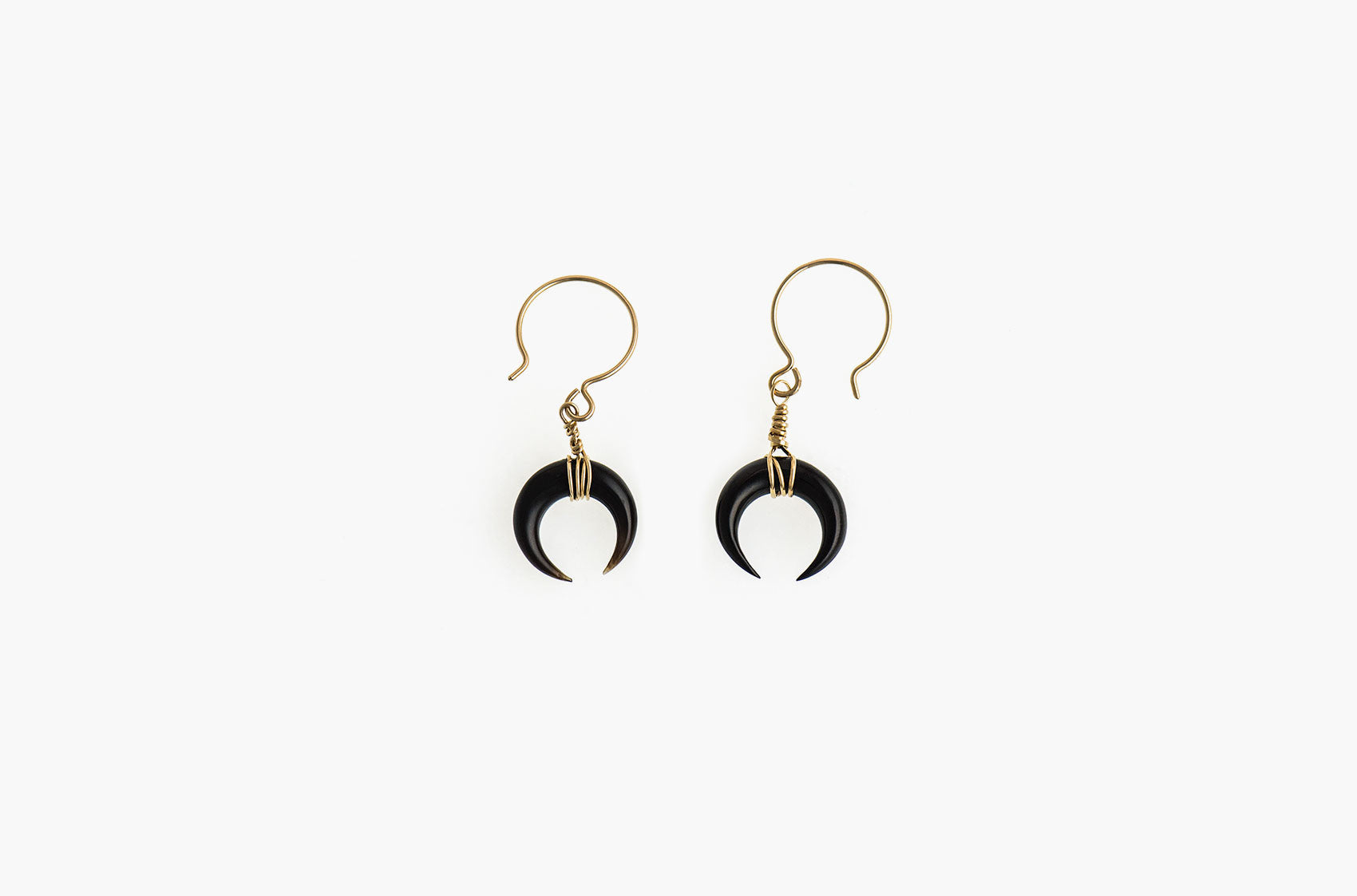 Little Big Horn. Crescent mini wire-wrap earrings Black with 14kt gold-filled earwires