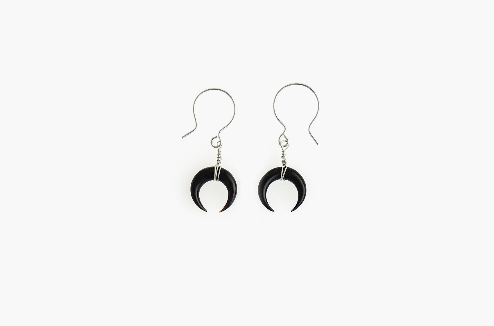 Little Big Horn. Crescent mini wire-wrap earrings Black with sterling silver earwires