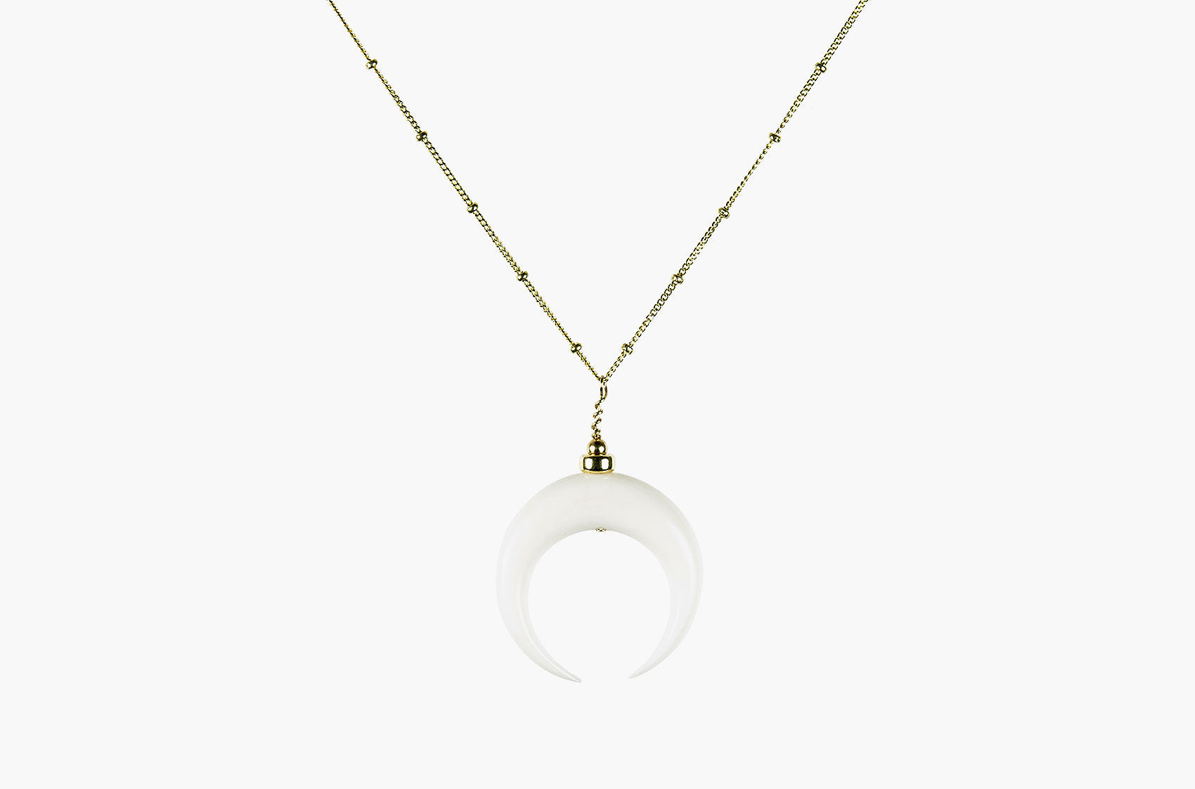 Little Big Horn. Large crescent necklace ivory with gold