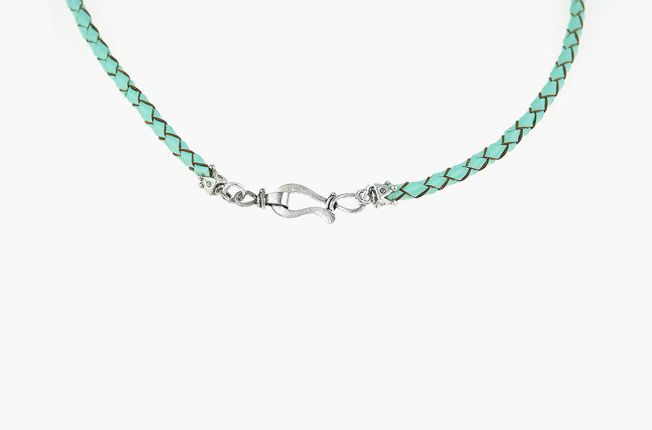 Long-horn & Leather. Sterling steer necklace in aqua back