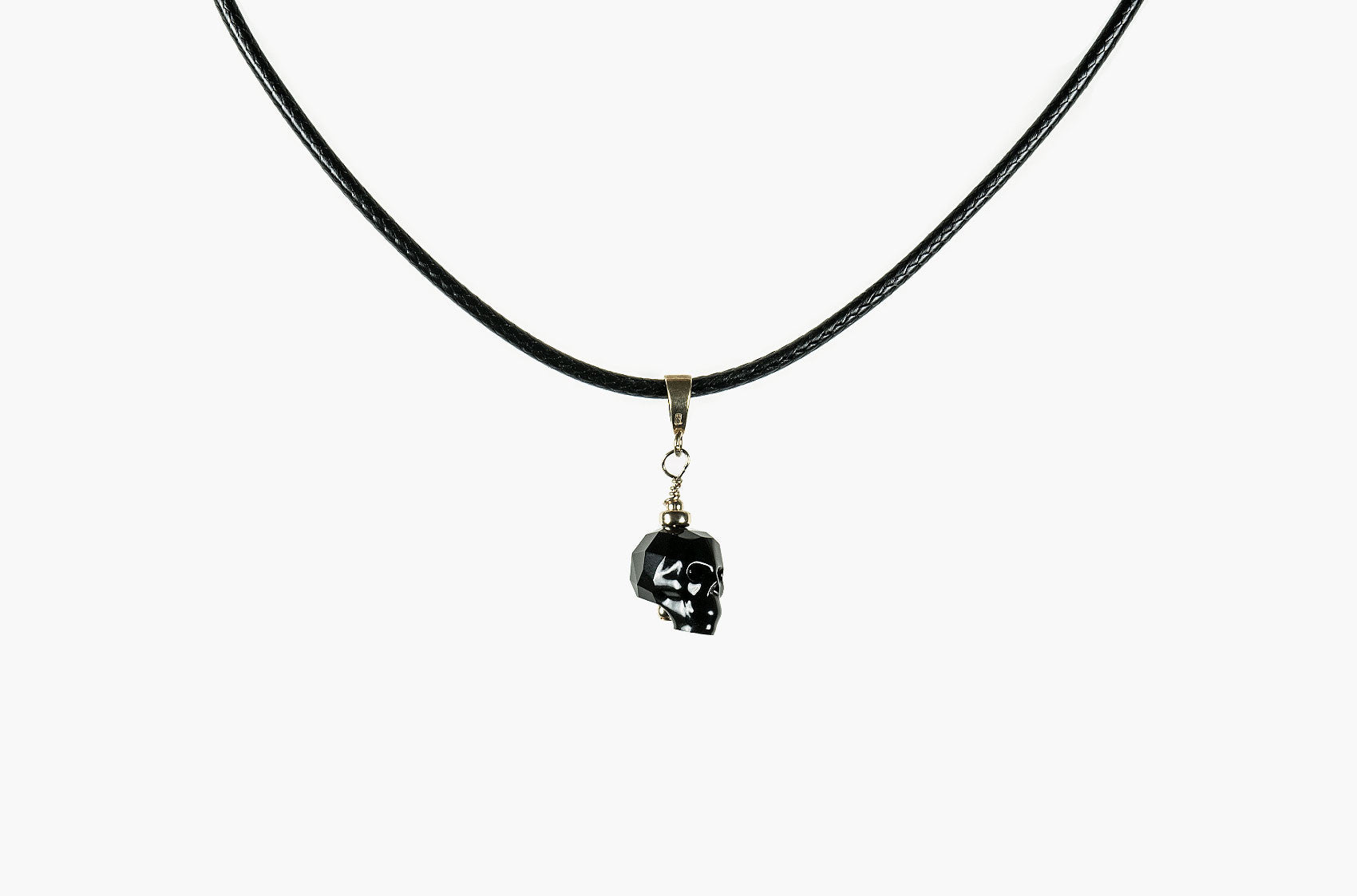Lovely Bones Swarovski Baby Skull choker black with gold