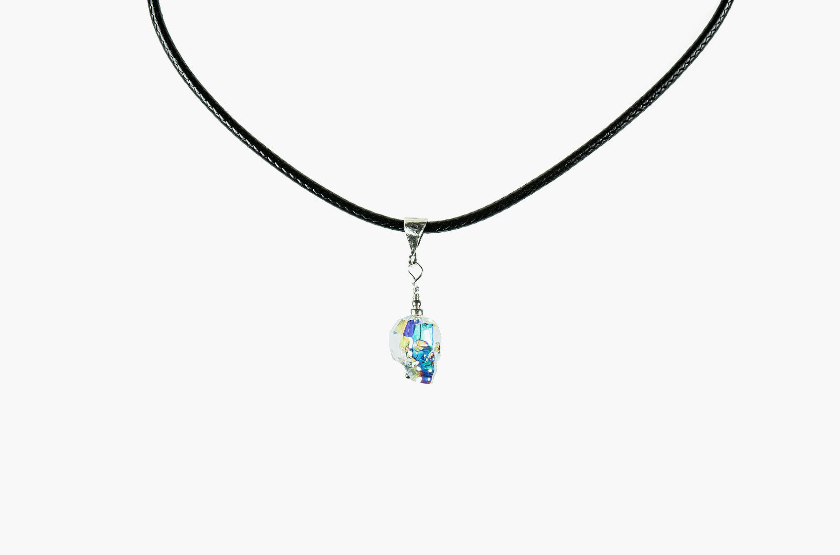 Lovely Bones Swarovski Baby Skull choker rainbow crystal with silver