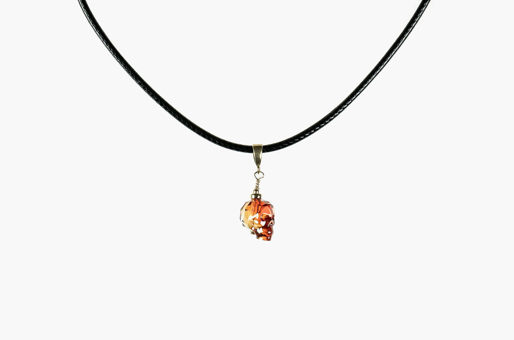 Lovely Bones Swarovski Baby Skull choker red magma with gold