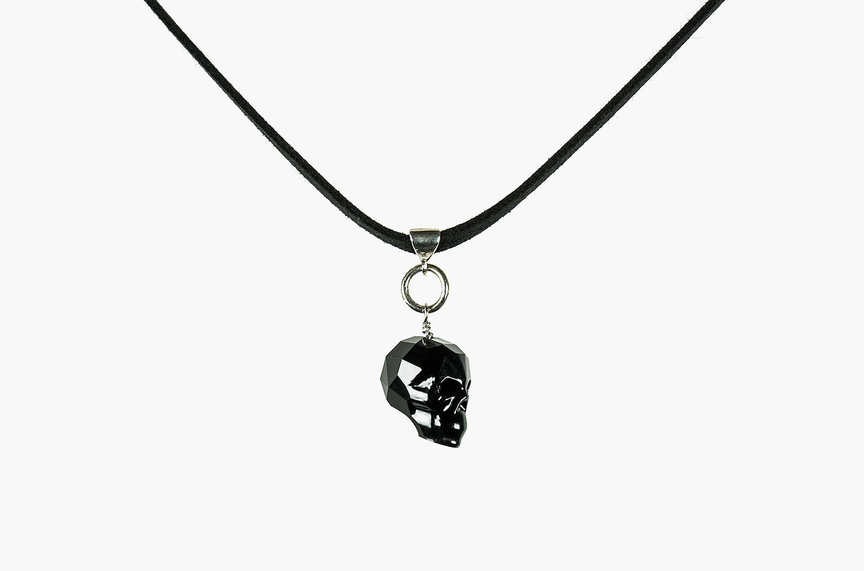 Lovely Bones Swarovski large skull leather choker