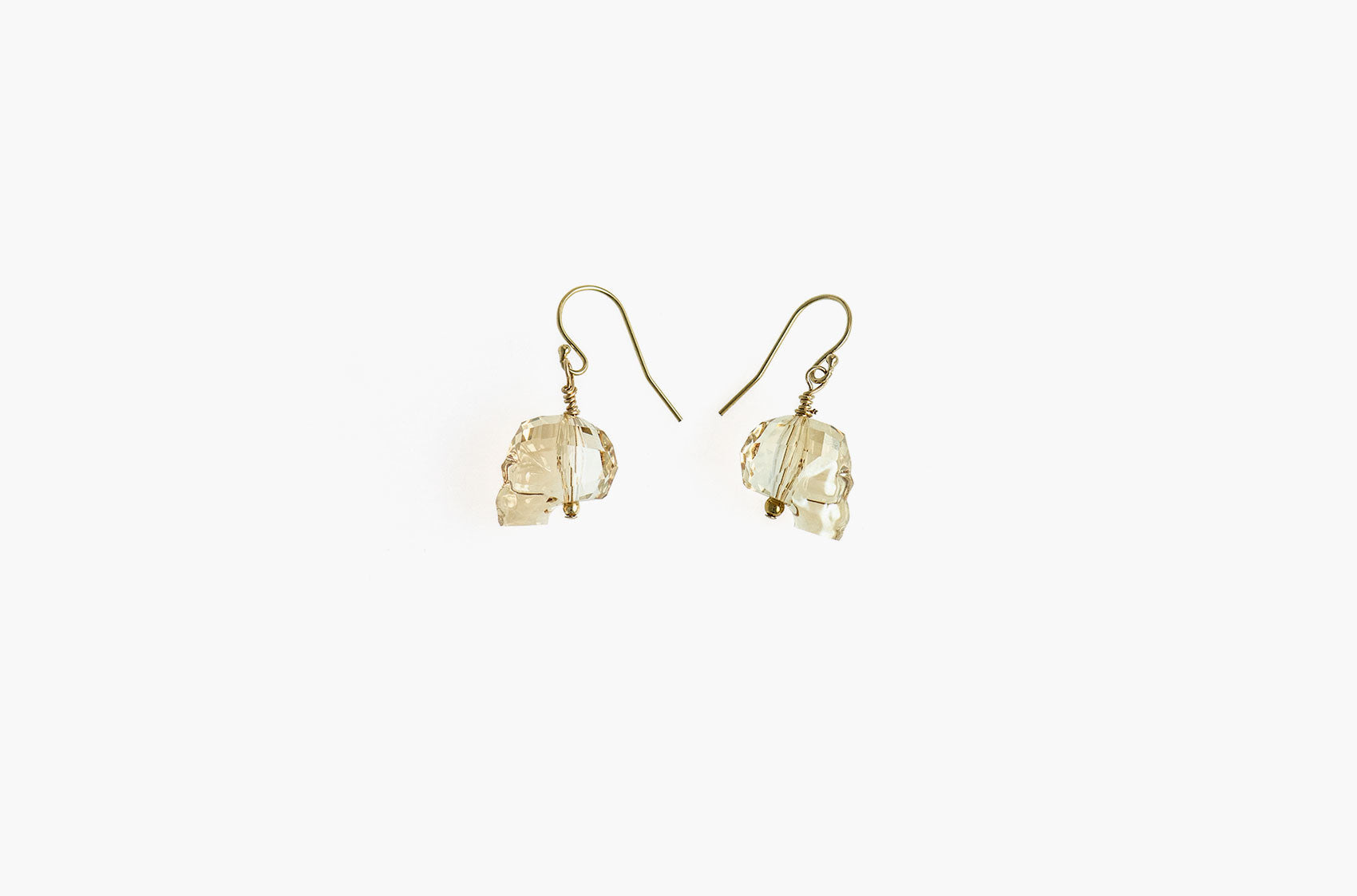 Lovely Bones Swarovski Skull earrings Golden Shadow with 14kt gold filled earwires