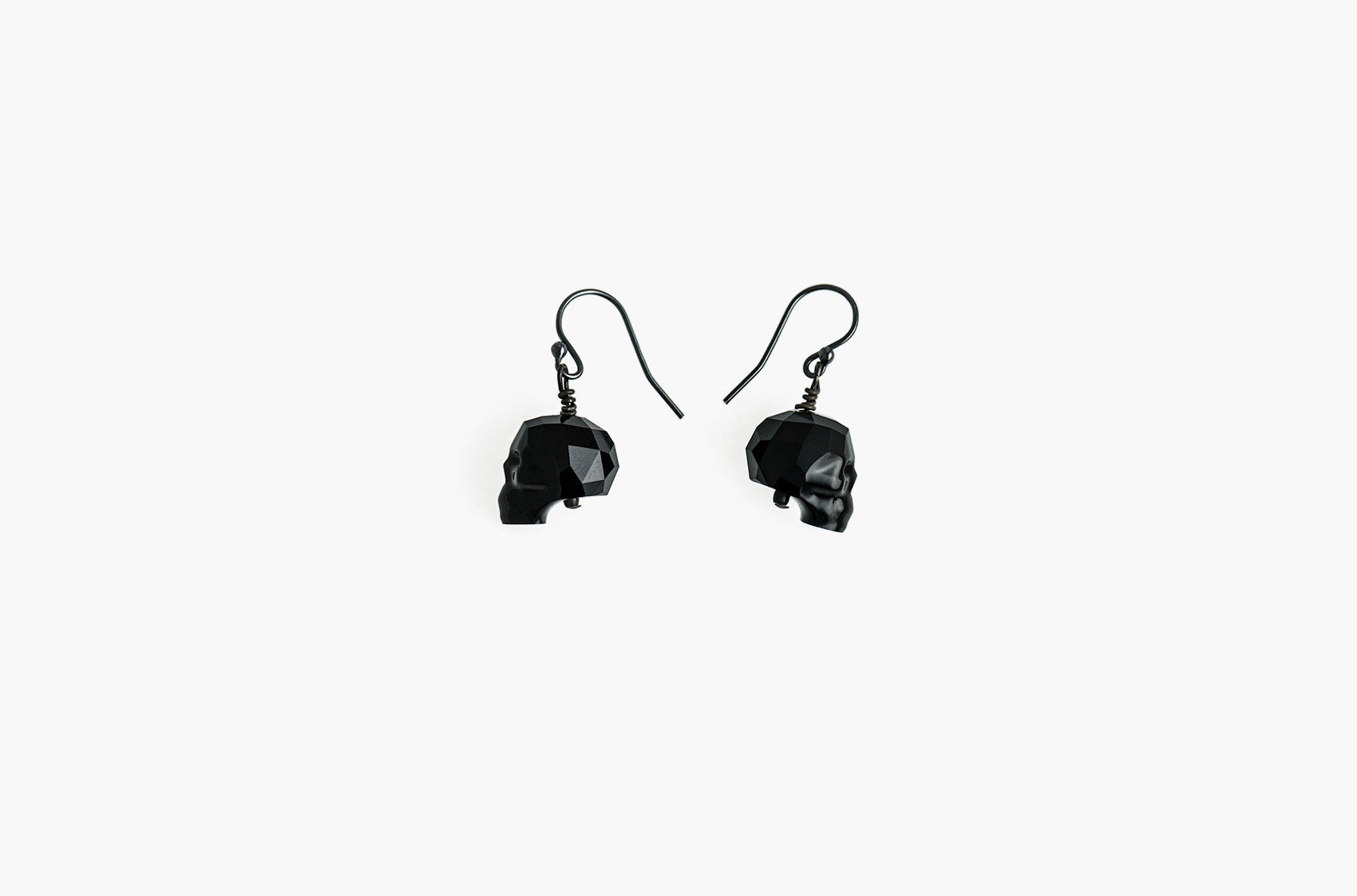 Lovely Bones Swarovski Skull earrings Jet Black with black sterling silver earwires