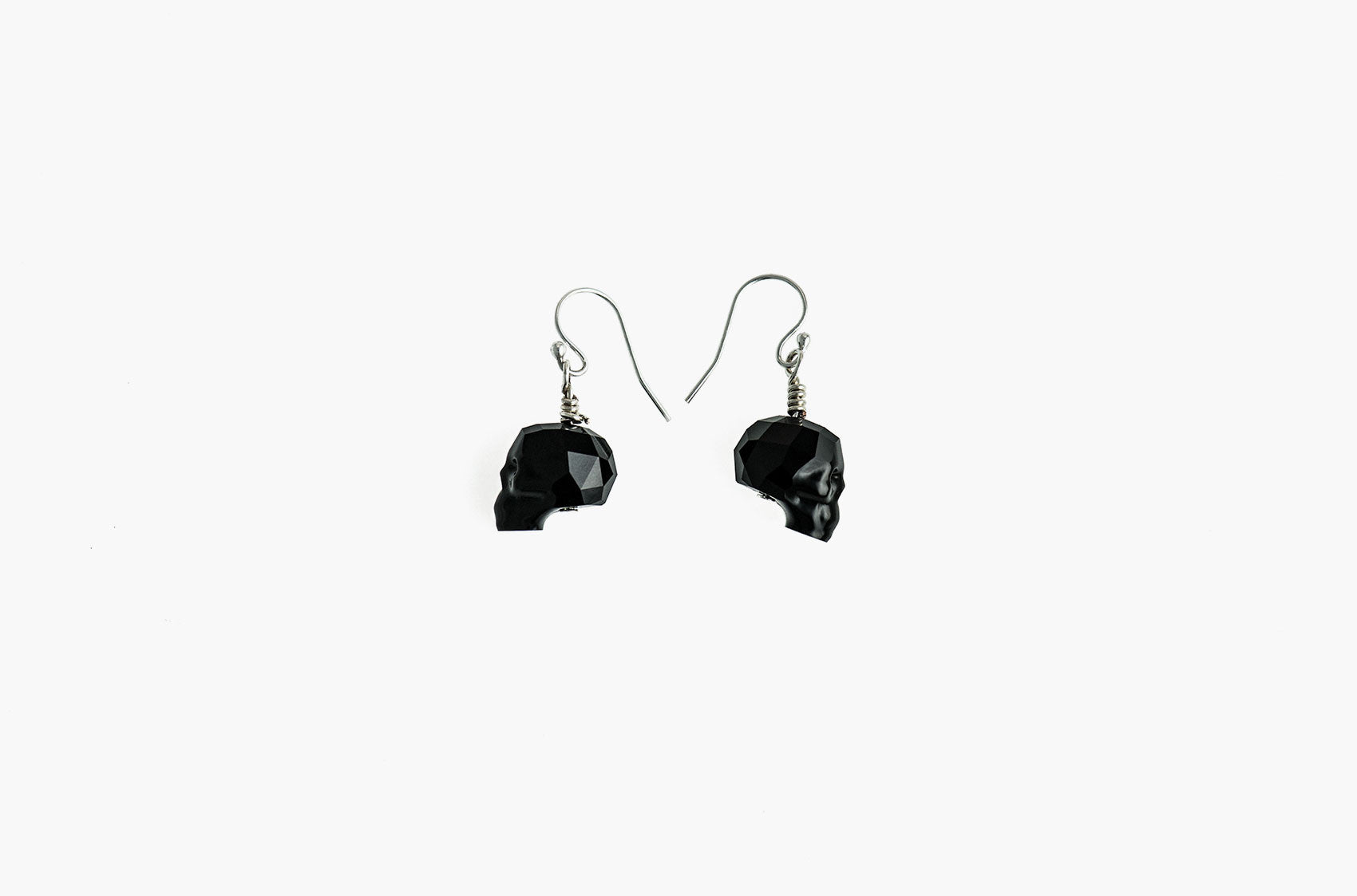 Lovely Bones Swarovski Skull earrings Jet Black with sterling silver earwires