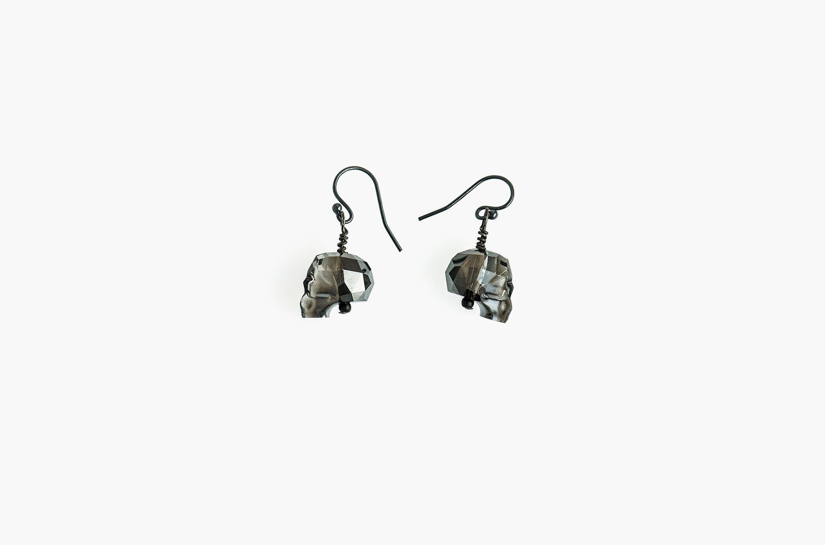 Lovely Bones Swarovski Skull earrings Silver Night with black sterling silver earwires