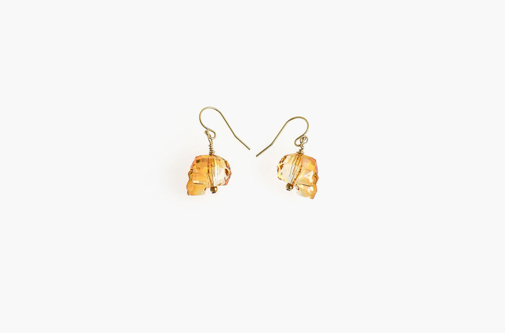 Lovely Bones Swarovski Skull earrings Sunshine with 14kt gold filled earwires