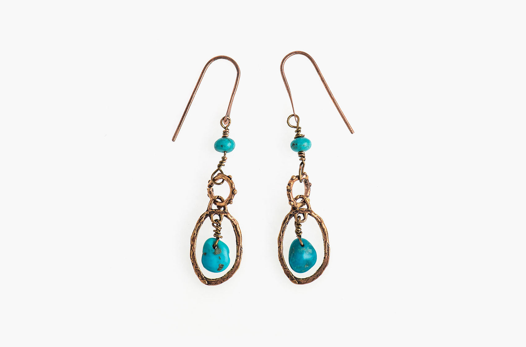 Metal & Stone. Artisan bronze earrings