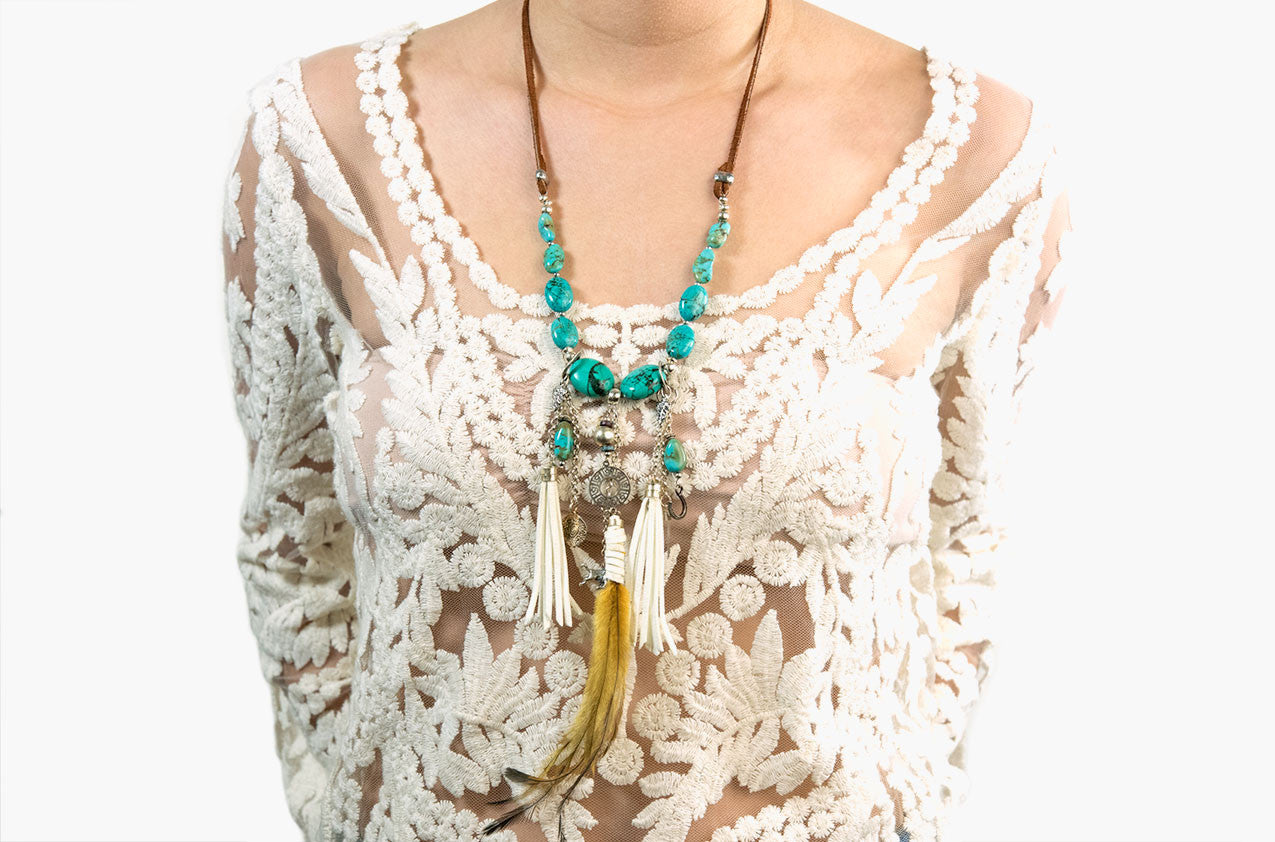 Model wearing Buffalo Girl Spirit Dreamer necklace