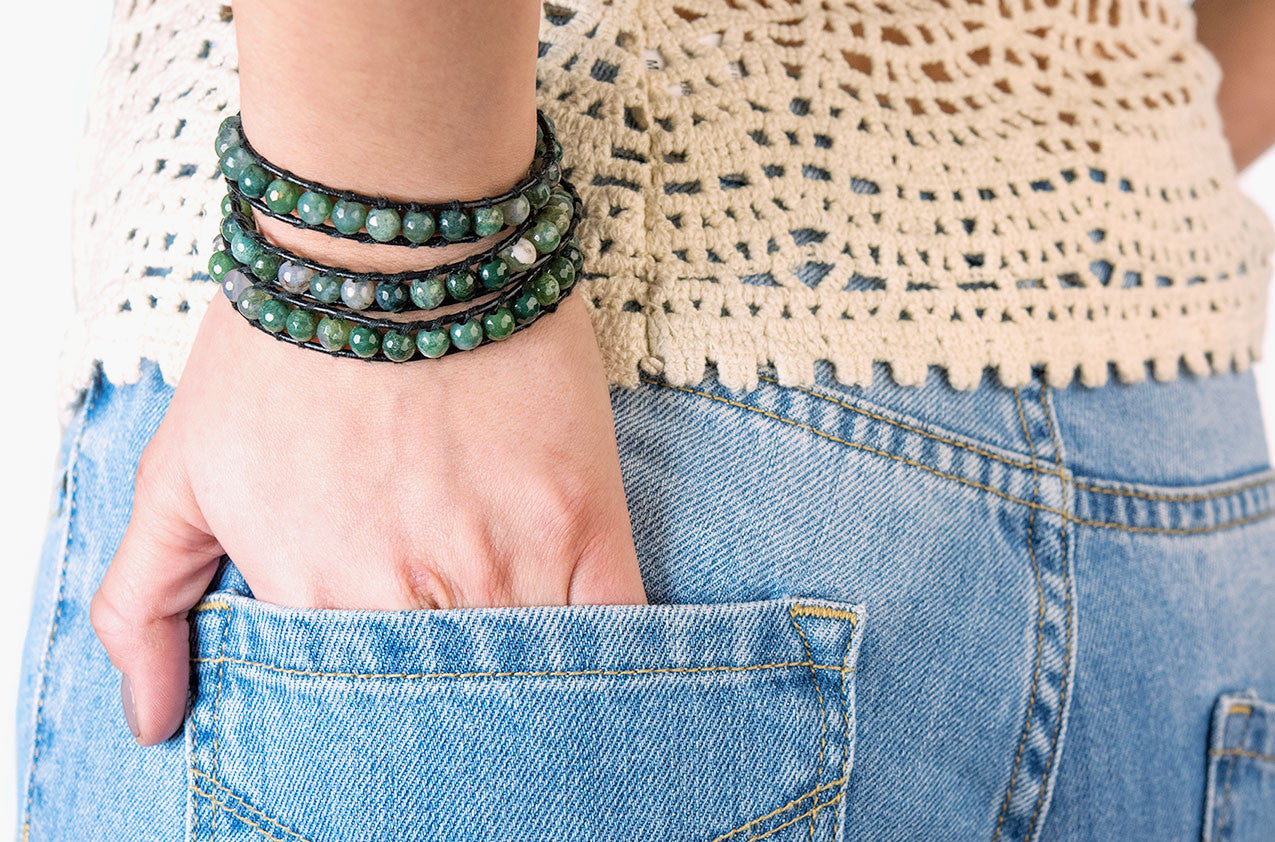 Model wearing Green agate wrap bracelet