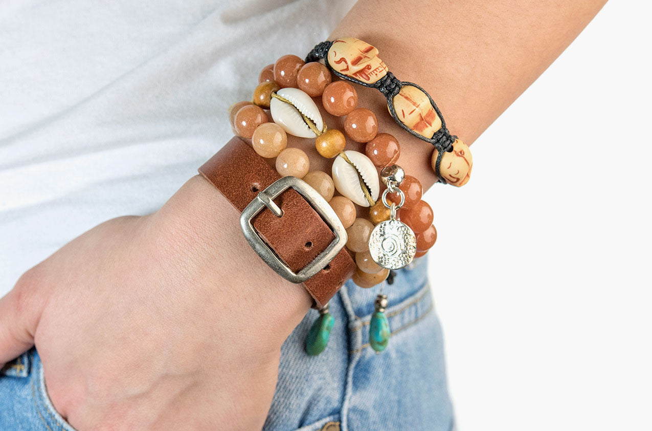 Model wearing Stacked or Separate Bracelet Collection No. 4