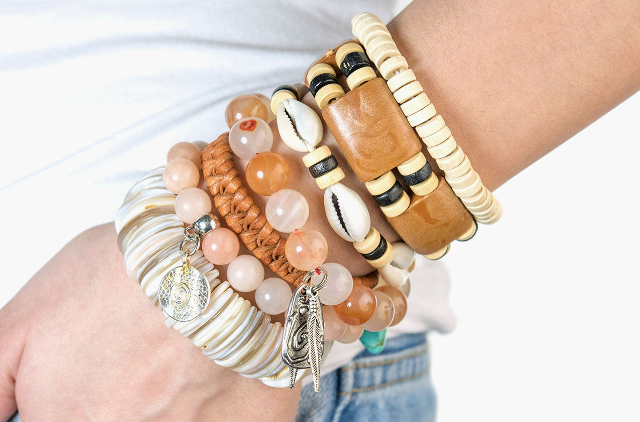 Model wearing Stacked or Separate Bracelet Collection No. 8