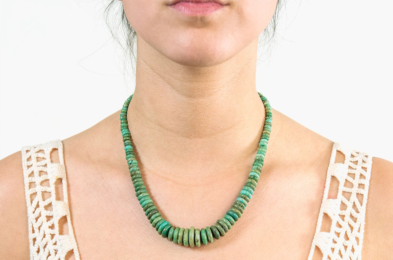 Model wearing Tribal turquoise disc necklace