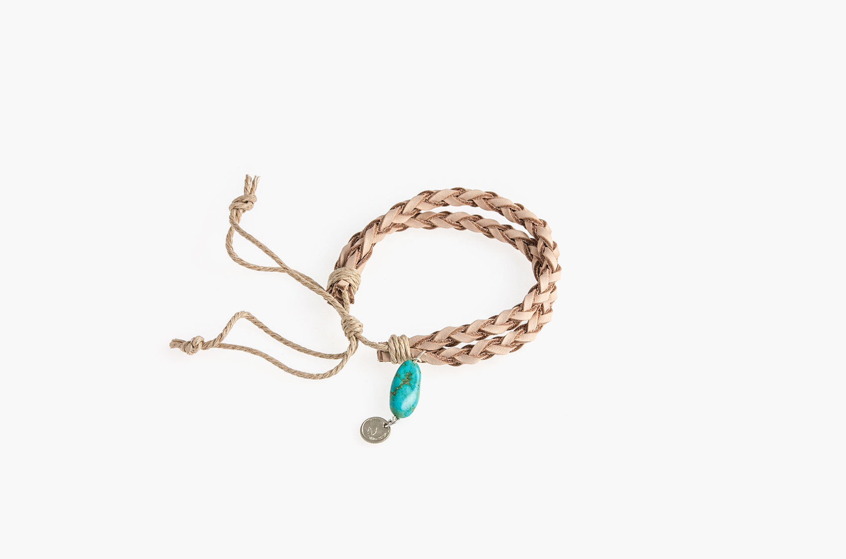 Natural braided leather bracelet with turquoise