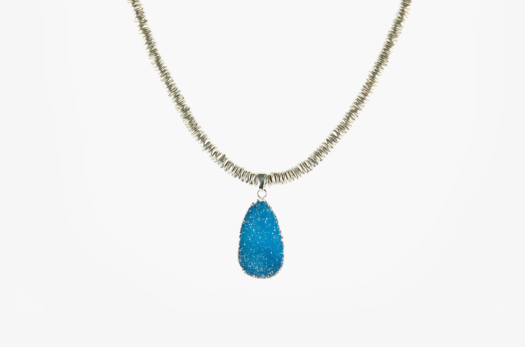 Peacock druzy silver nugget necklace