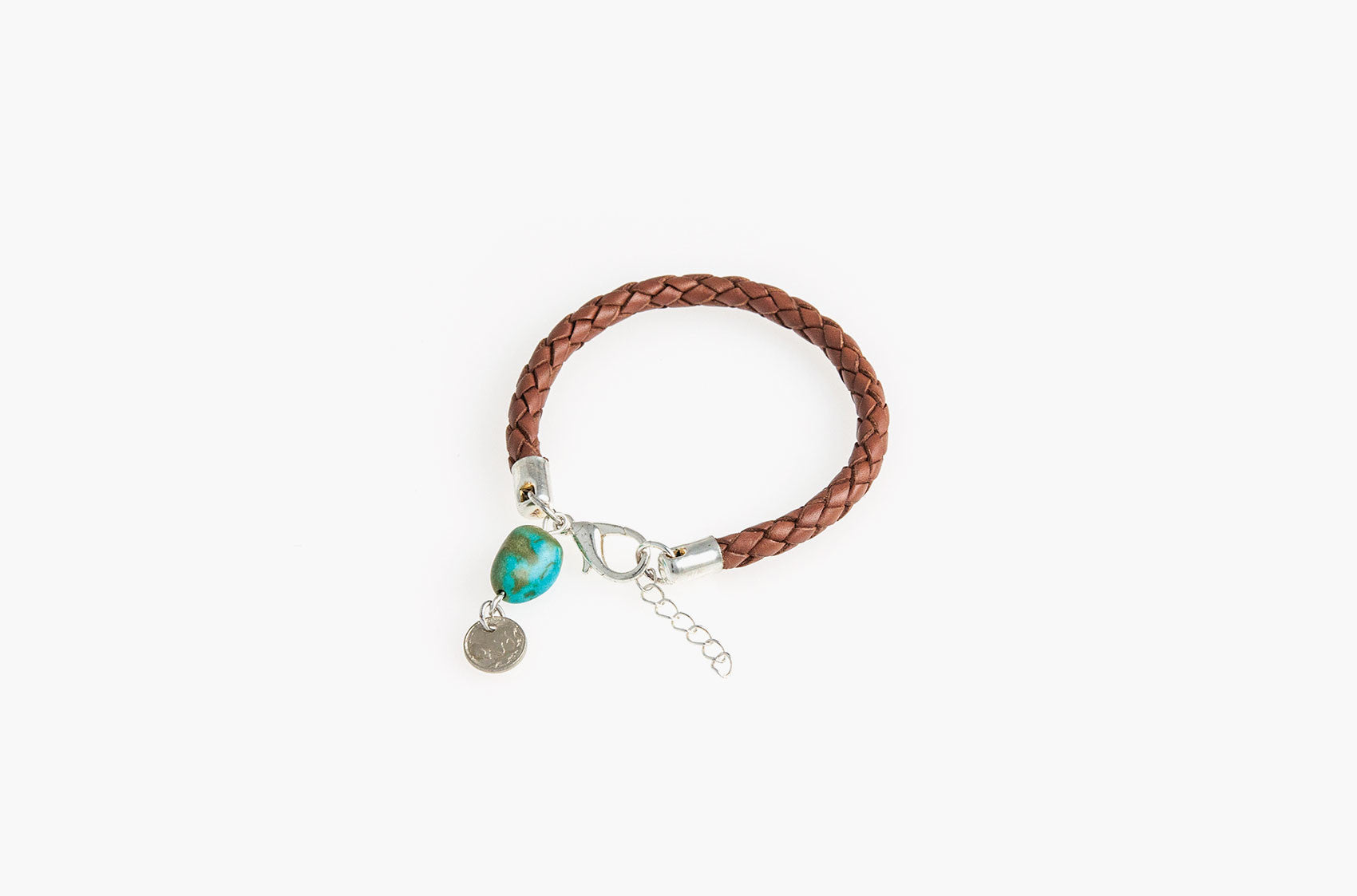 Plaited leather and turquoise bracelet