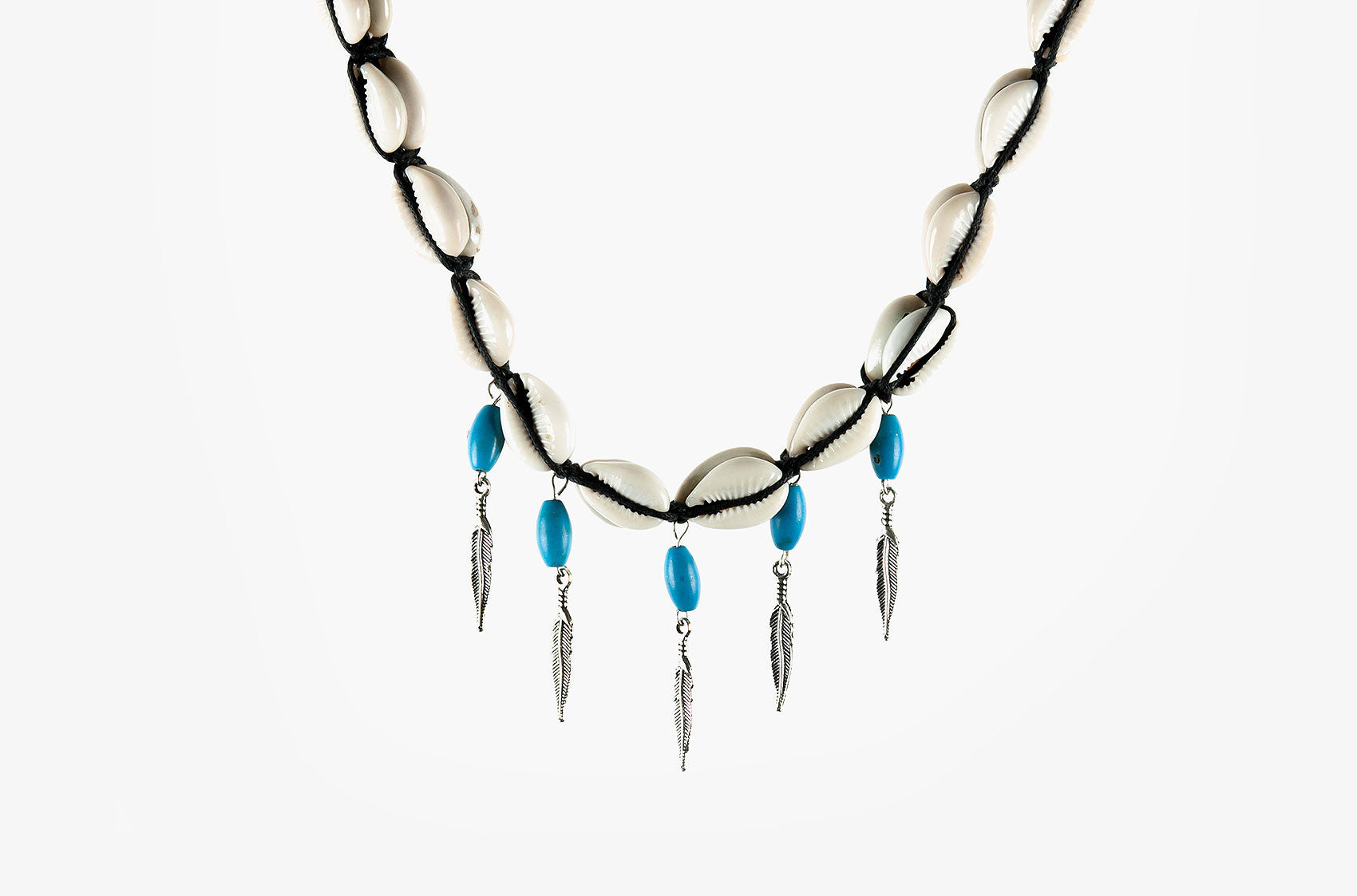 Shell, turquoise and arrow charm necklace