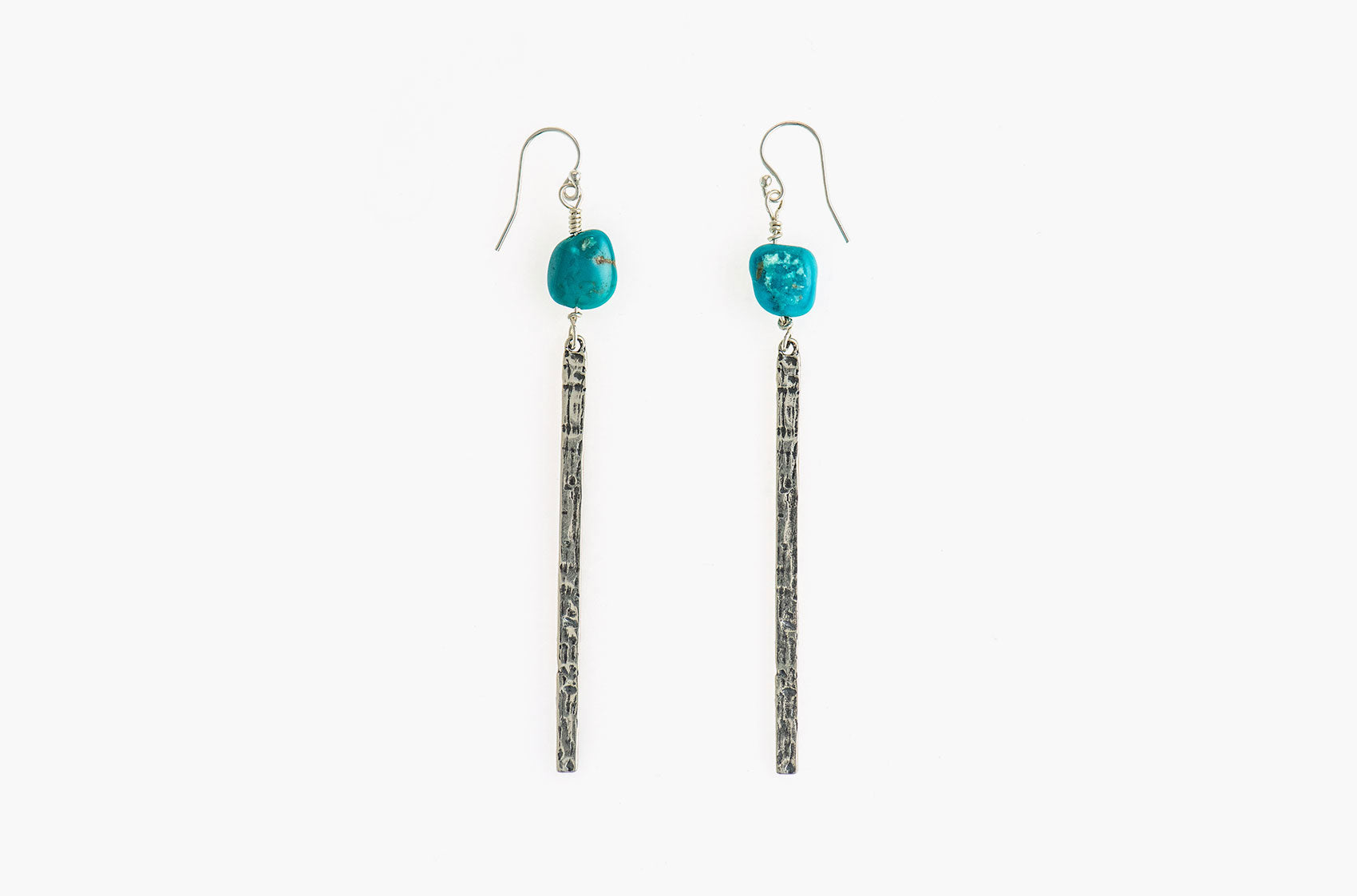 Silver & Stone. Artisan bar earrings
