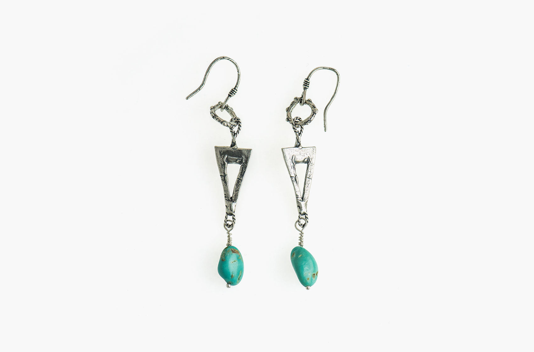 Silver & Stone. Artisan triangle earrings