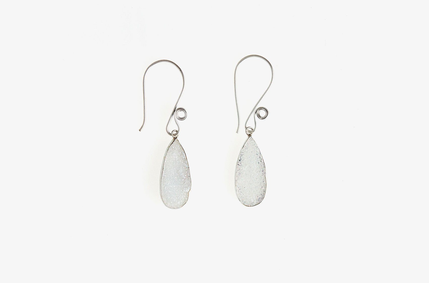 Silver & Stone. Druzy drop earrings