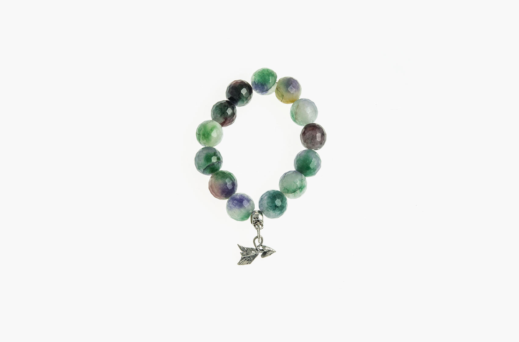 Silver & Stone. Green Malay jade and silver bracelet small