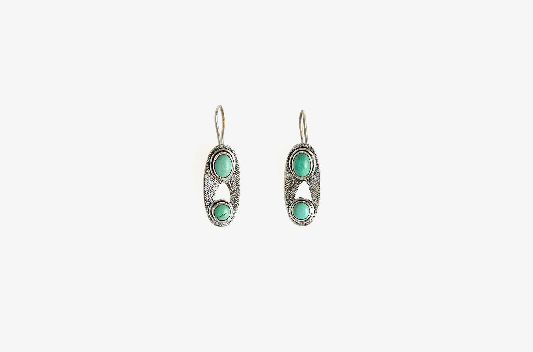 Silver & Stone. Oval turquoise earrings