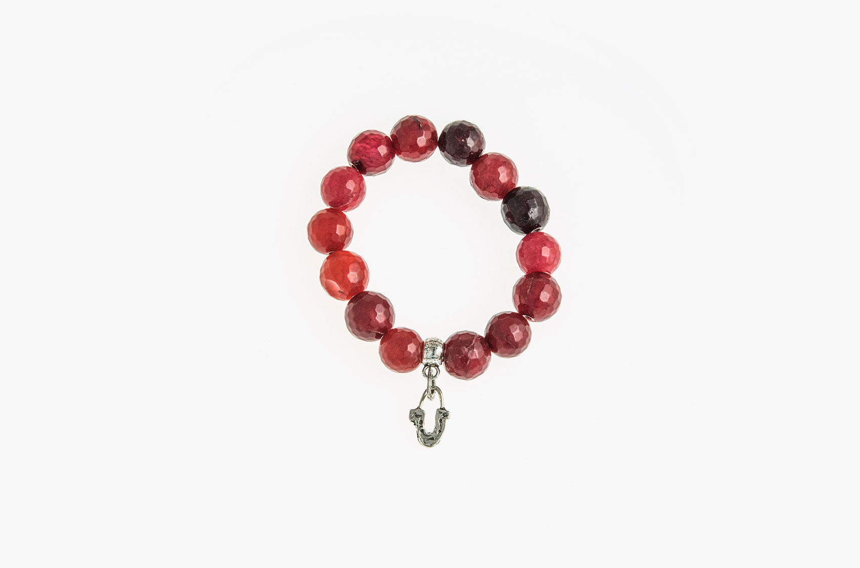 Silver & Stone. Red Malay jade and silver bracelet small