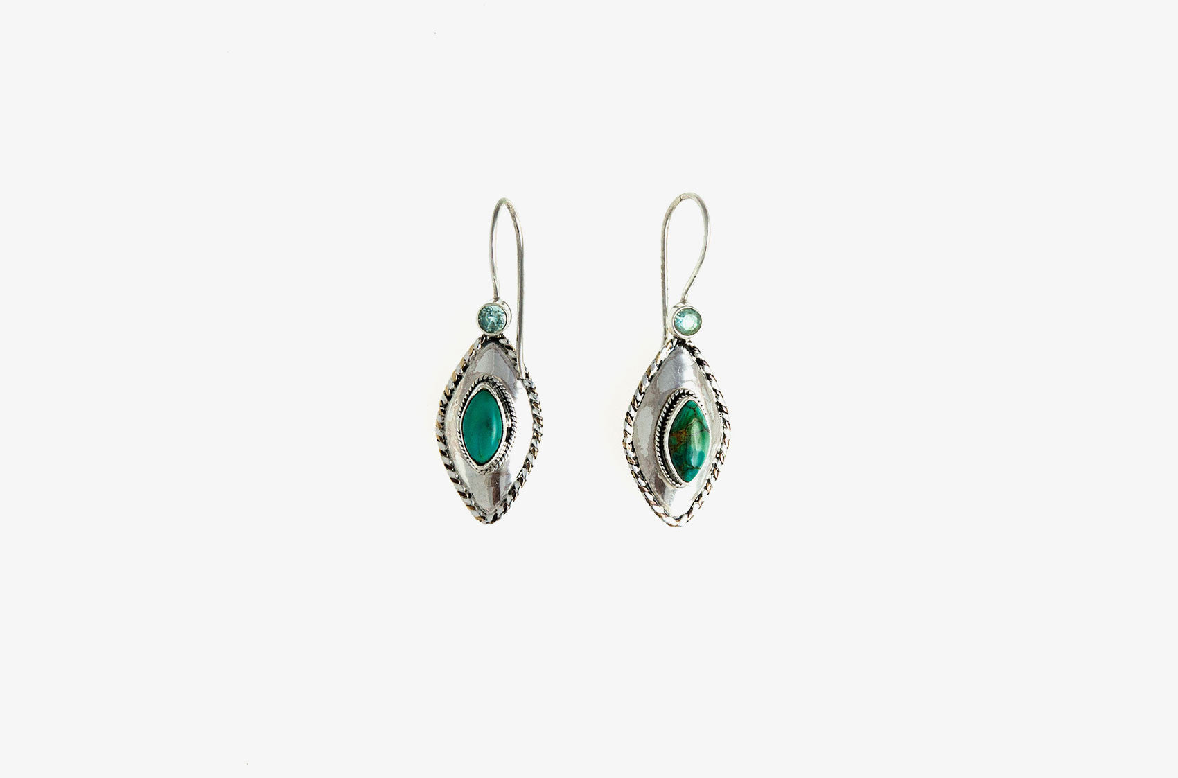 Silver & Stone. Topaz and turquoise earrings