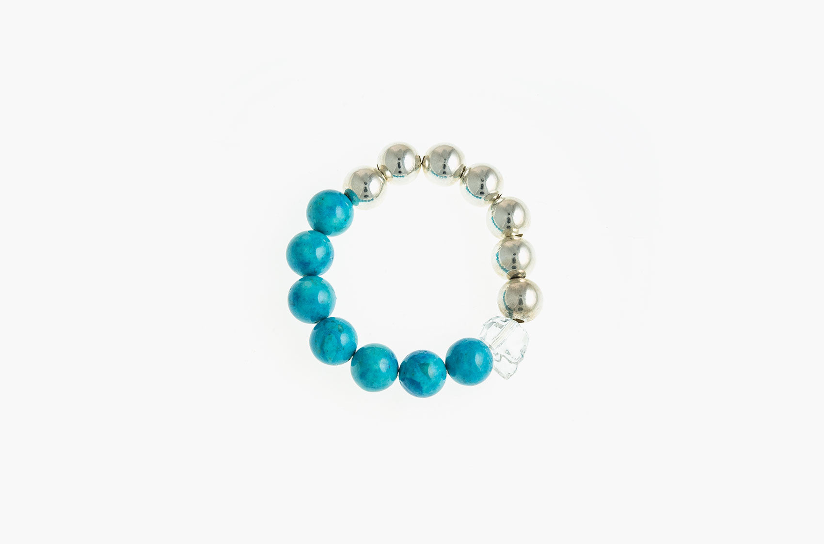 Silver & Stone. Turquoise, crystal and silver bracelet